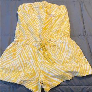 White and yellow zebra romper